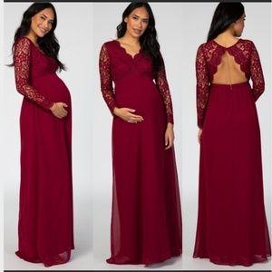 NWOT Maternity Maroon Lace Open Back Dress